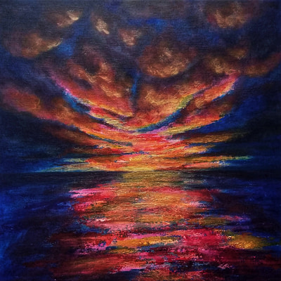 Dramatic and passionate night sky – sunset sea painting