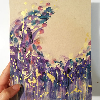 Purple moon – abstract painting on paper