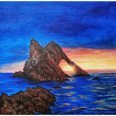 Sunset behind rocks – original oil seascape