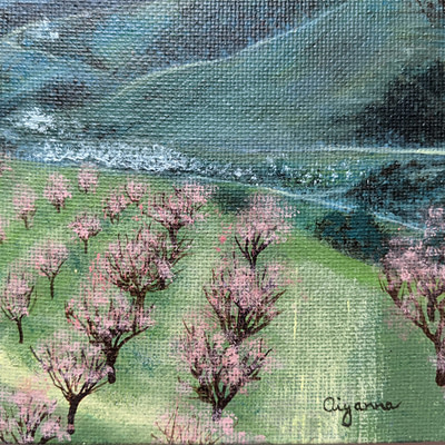 Spring in South Moravia – almond orchards artwork, 24x18cm