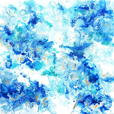 Blue and gold – original abstract painting, 50×50 cm