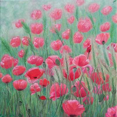 Red poppies – original floral artwork
