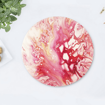 Pink mood – abstract round painting
