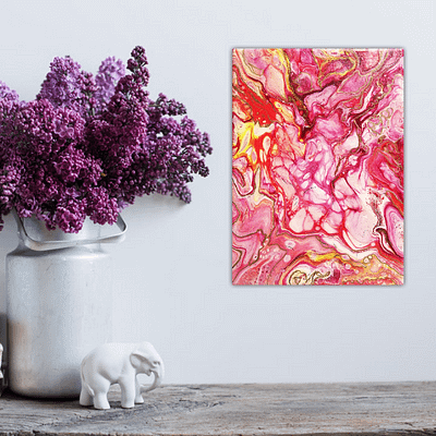 Flowing passion small abstract artwork