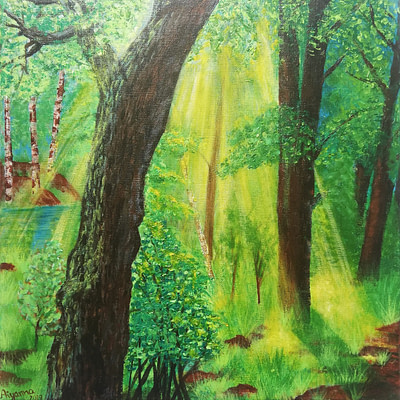 Sunlit forest – realistic forest painting