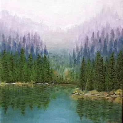 Reflections in the lake – lake painting on canvas