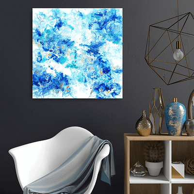 Blue and gold - original abstract painting
