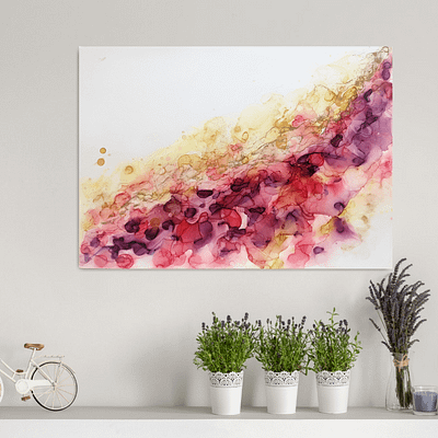 Original ink painting – Gold in red