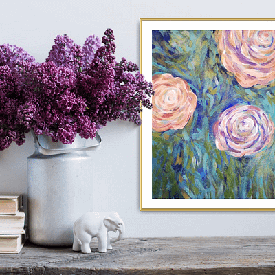Pink roses – floral oil painting