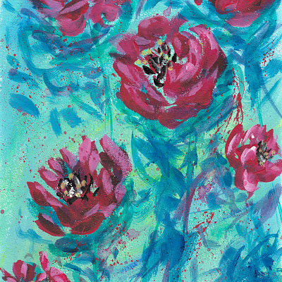 Roses from a loved one – abstract fine art print on canvas