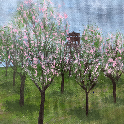 A walk in the almond orchards – hand-painted landscape, 24x18cm
