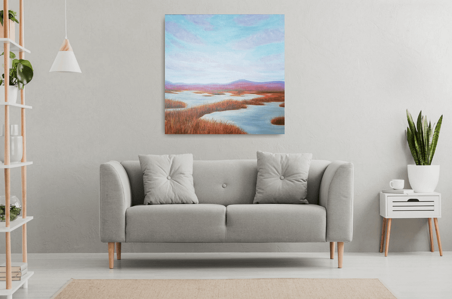 Space for intuition - abstract landscape marsh painting
