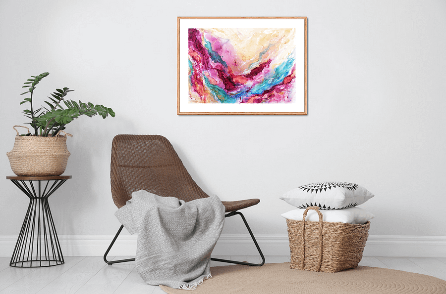 Romantic fantasy - abstract painting on paper
