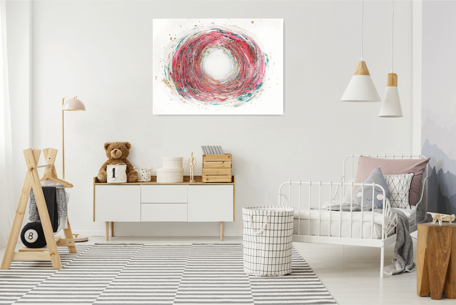 Summer swirl - abstract mixed media painting