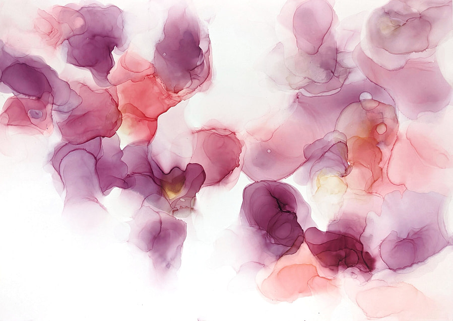 abstract alcohol ink painting pink