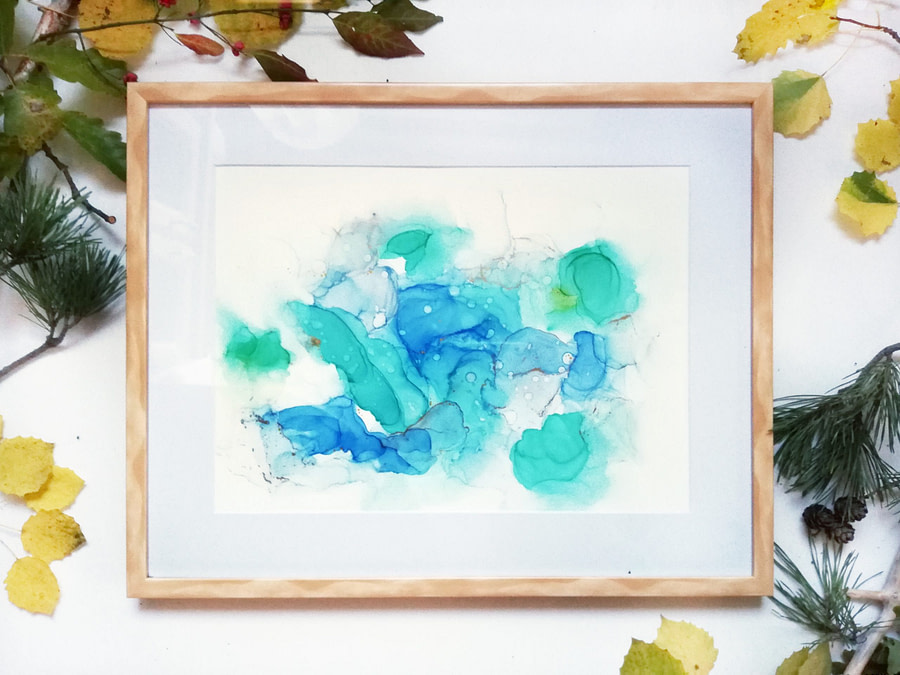 blue and gold abstract ink painting yupo