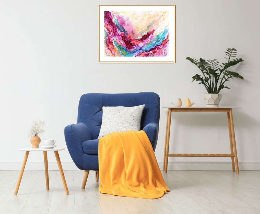 abstract alcohol ink painting artwork on paper