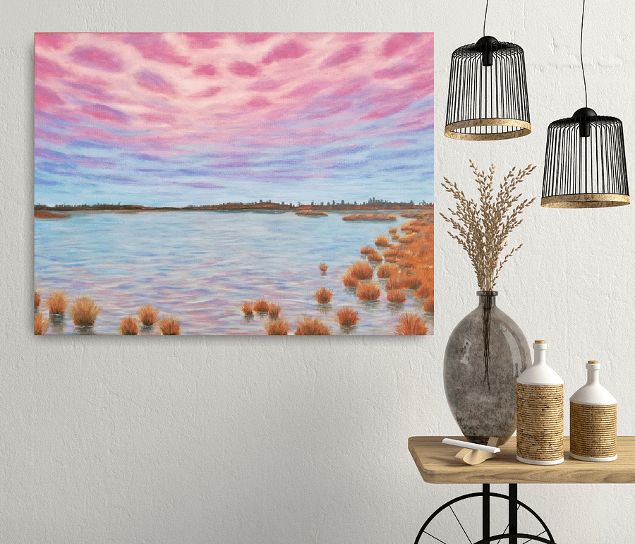 realistic marsh painting on canvas