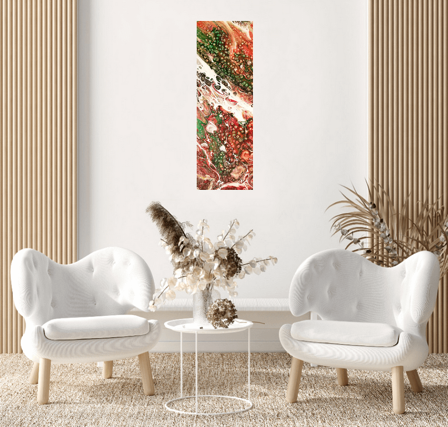 Autumn memories - modern abstract painting, 20x60 cm