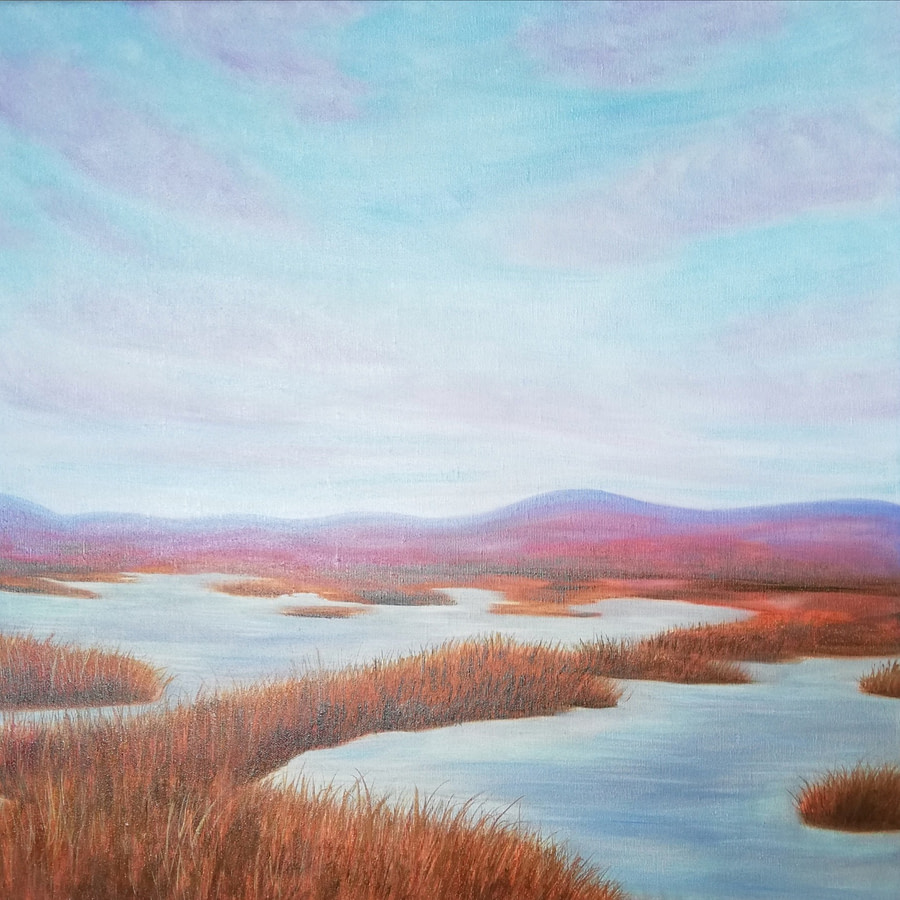 abstract marsh painting on canvas art for sale