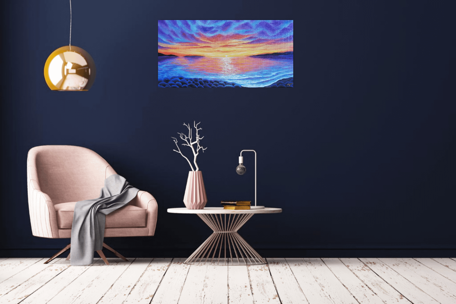Feel your inner peace, look through the painting