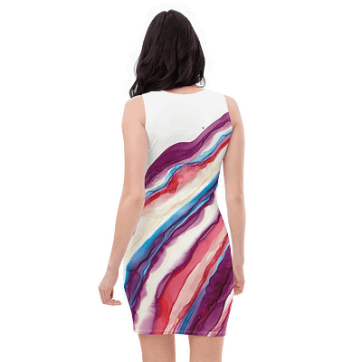 Beautiful feminine abstract print dress – alcohol ink geode art